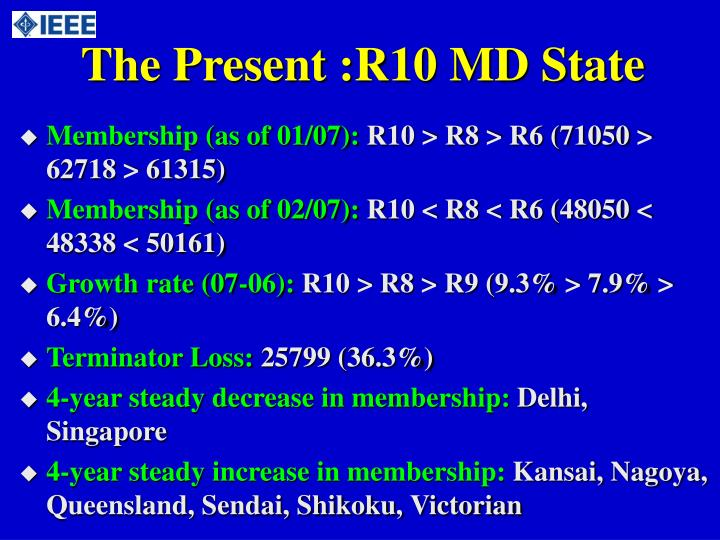 The Present :R10 MD State