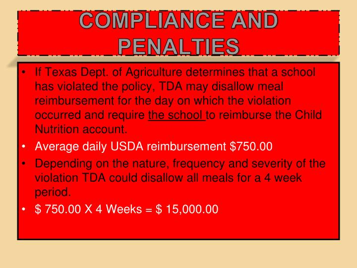 COMPLIANCE AND PENALTIES