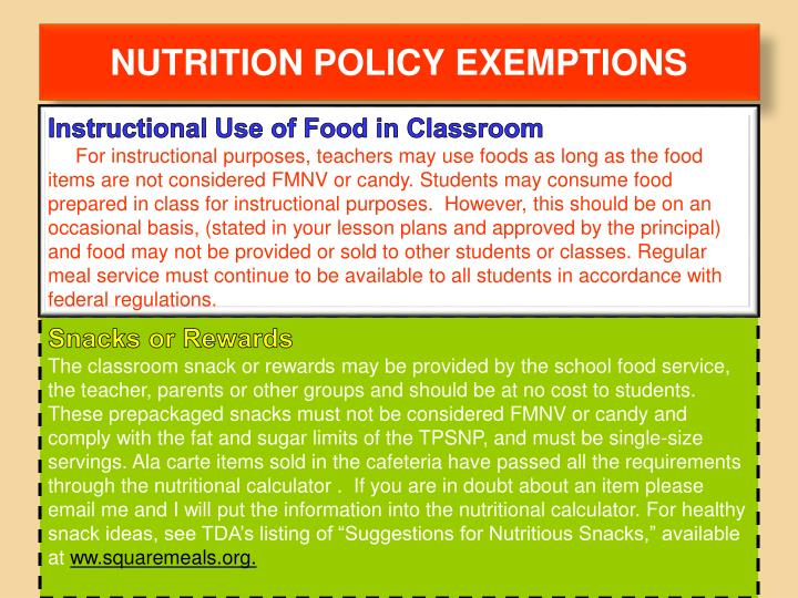NUTRITION POLICY EXEMPTIONS