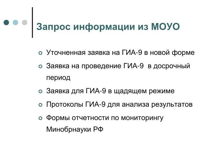 Запрос информации из МОУО