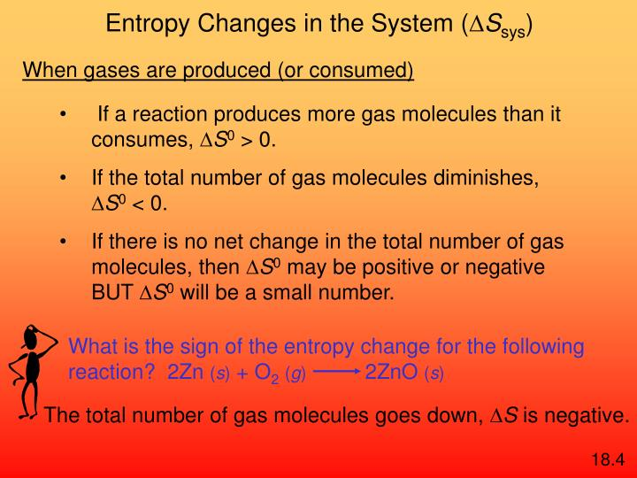 What is the sign of the entropy change for the following reaction?  2Zn