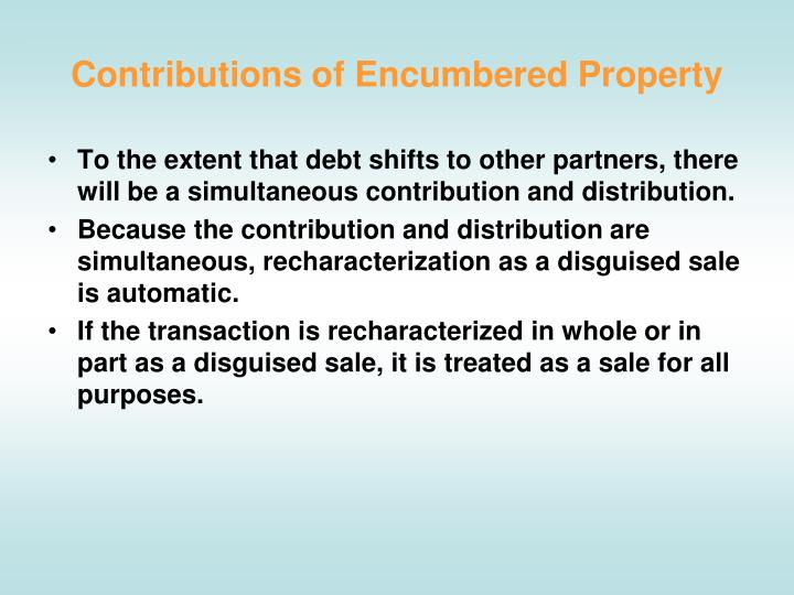 Contributions of Encumbered Property