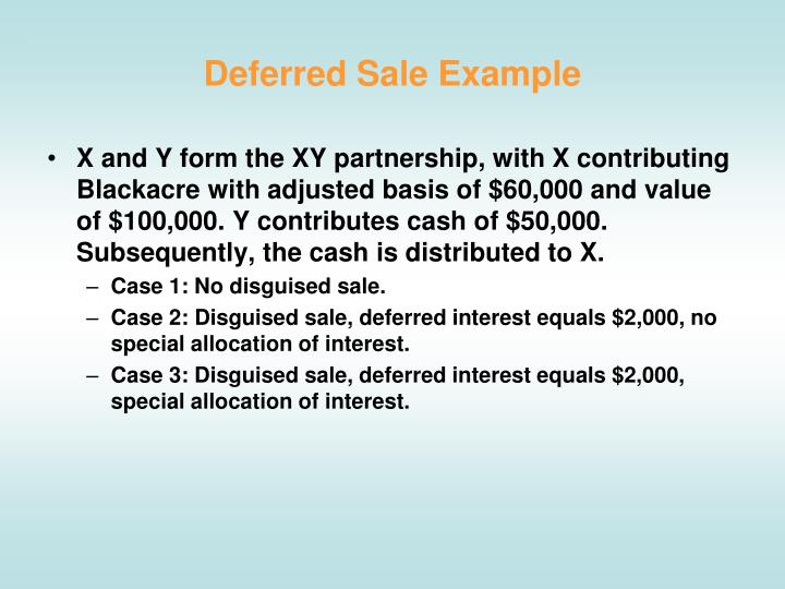 Deferred Sale Example