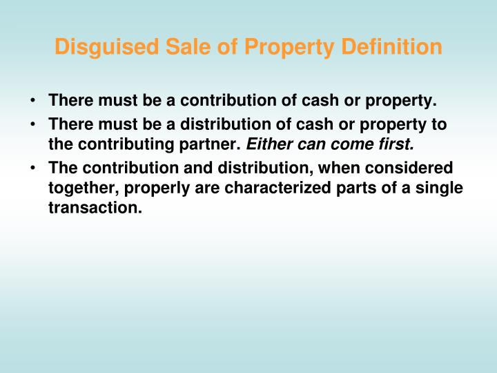 Disguised sale of property definition