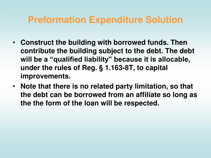 Preformation Expenditure Solution