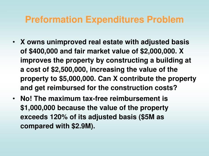 Preformation Expenditures Problem
