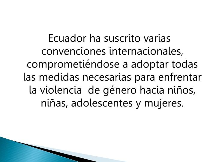 Ecuador ha suscrito varias convenciones internacionales, comprometiéndose a adoptar todas las medidas necesarias para enfrentar  la violencia  de género hacia niños, niñas, adolescentes y mujeres.