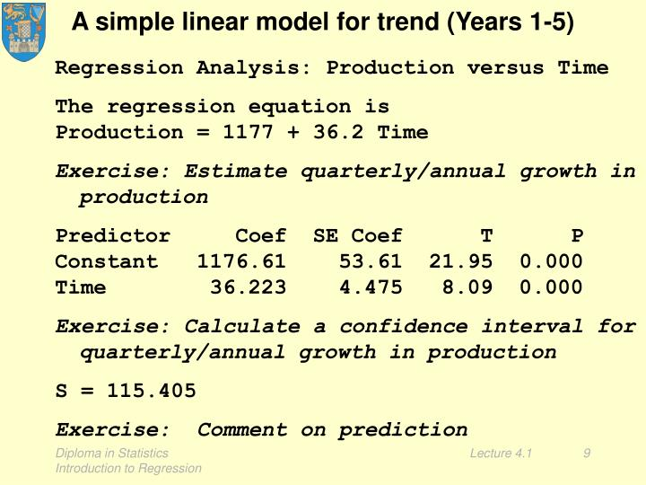 A simple linear model for trend (Years 1-5)
