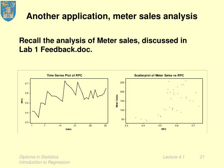 Another application, meter sales analysis
