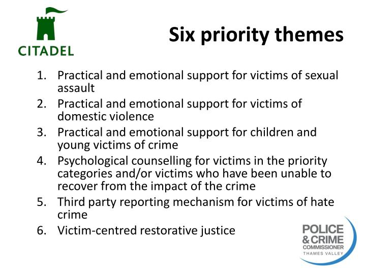 Six priority themes