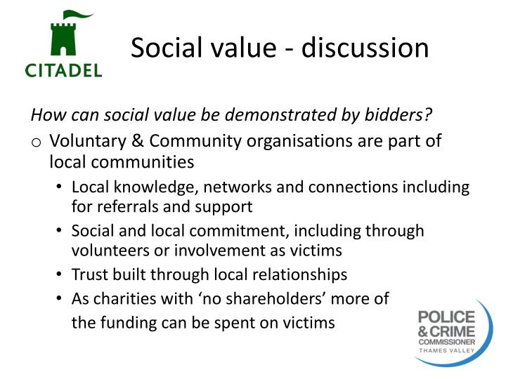 Social value - discussion