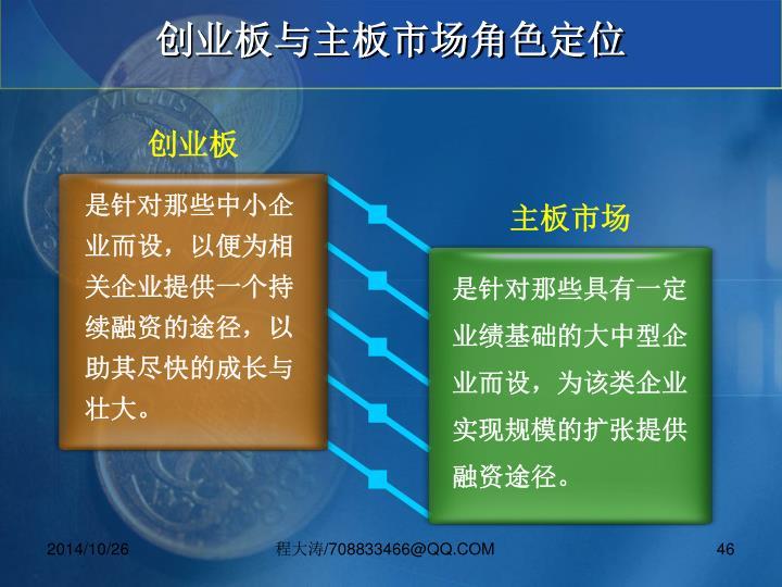 创业板与主板市场角色定位