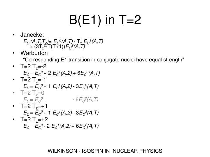 B(E1) in T=2