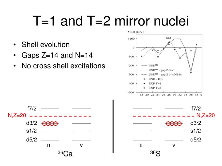 T 1 and t 2 mirror nuclei