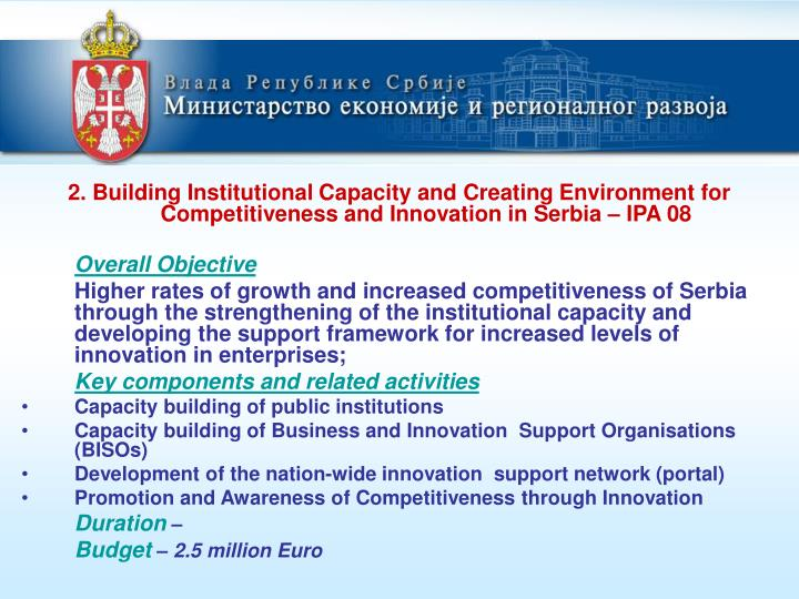 2. Building Institutional Capacity and Creating Environment for Competitiveness and Innovation in Se...