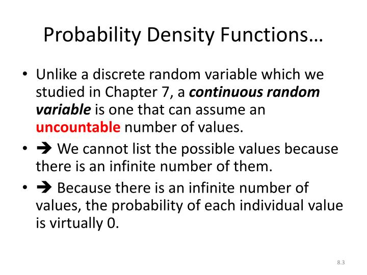 Probability Density Functions…