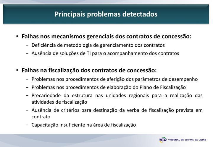 Principais problemas detectados