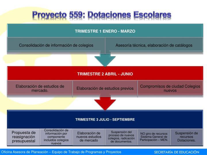 Proyecto 559: Dotaciones Escolares