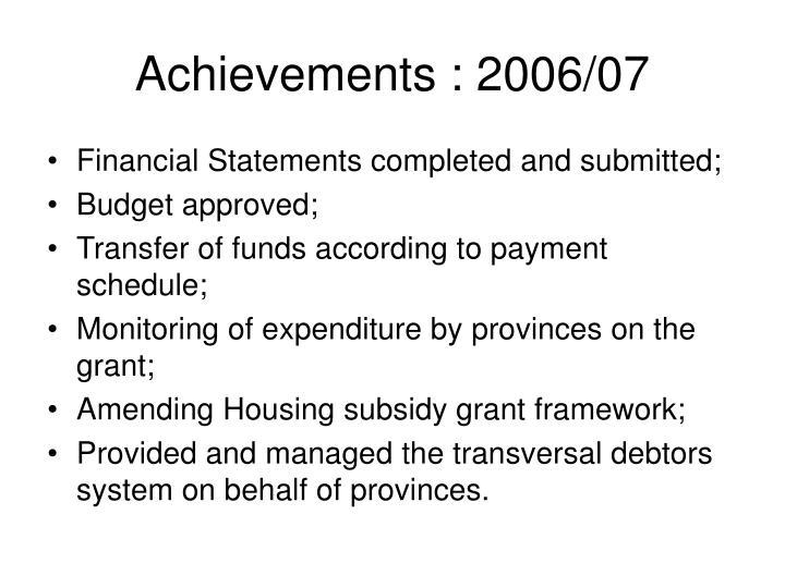 Achievements : 2006/07