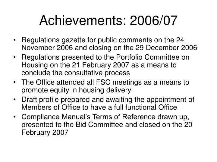 Achievements: 2006/07