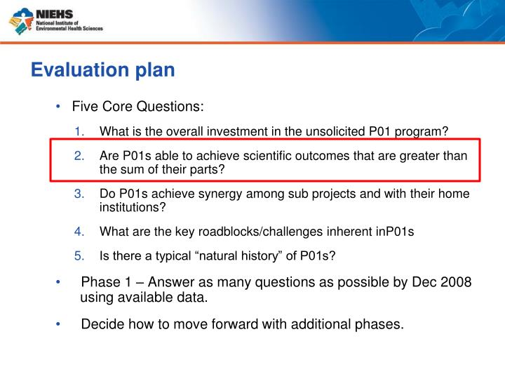 Evaluation plan