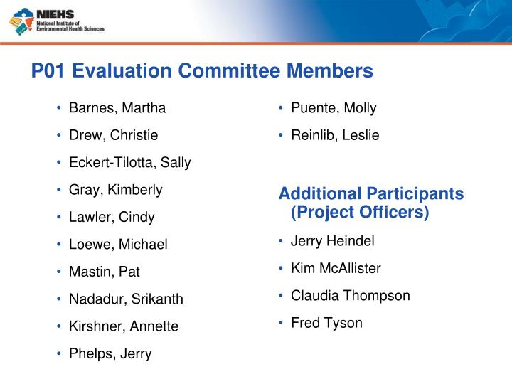 P01 Evaluation Committee Members