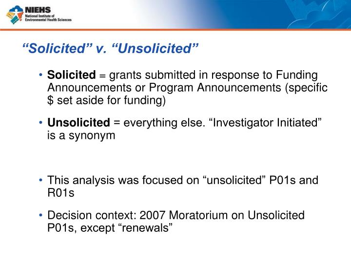 """Solicited"" v. ""Unsolicited"""