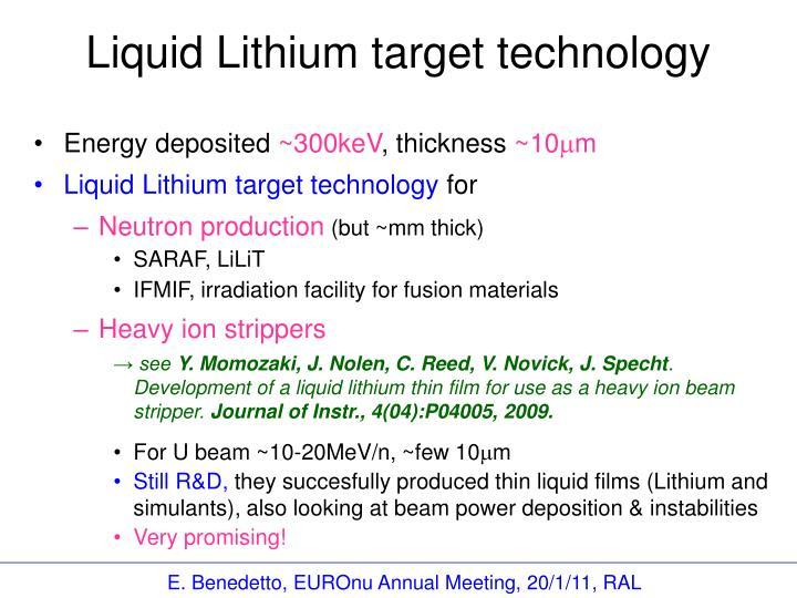 Liquid Lithium target technology