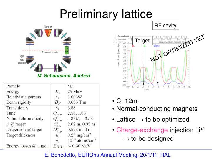 Preliminary lattice