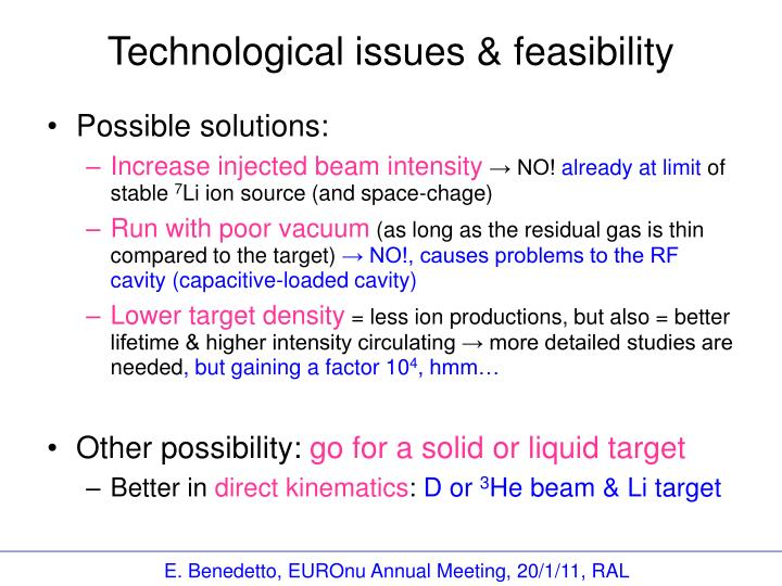 Technological issues & feasibility