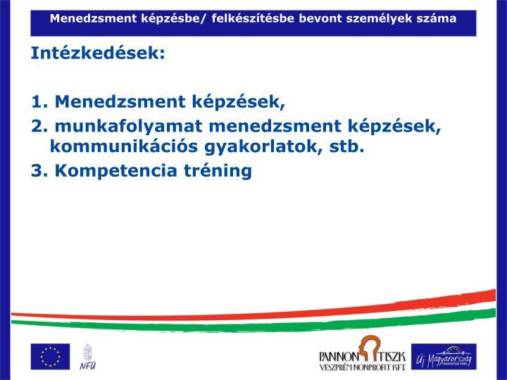 Menedzsment képzésbe/ felkészítésbe bevont személyek száma