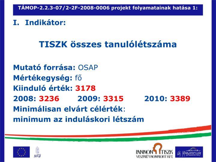 TÁMOP-2.2.3-07/2-2F-2008-0006 projekt folyamatainak hatása 1:
