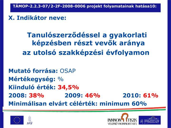 TÁMOP-2.2.3-07/2-2F-2008-0006 projekt folyamatainak hatása10: