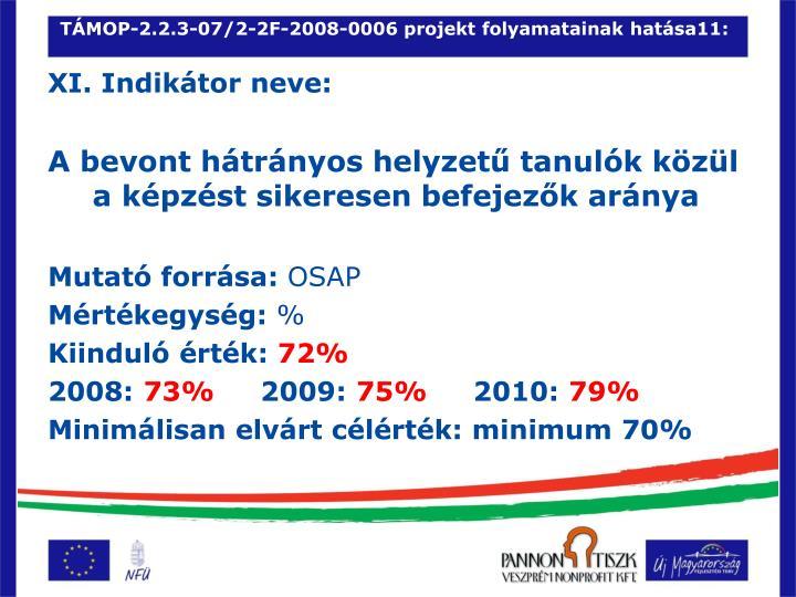 TÁMOP-2.2.3-07/2-2F-2008-0006 projekt folyamatainak hatása11: