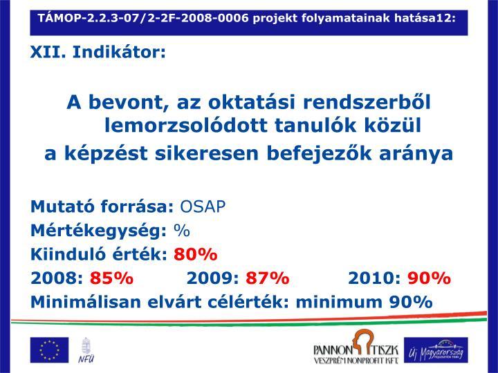 TÁMOP-2.2.3-07/2-2F-2008-0006 projekt folyamatainak hatása12: