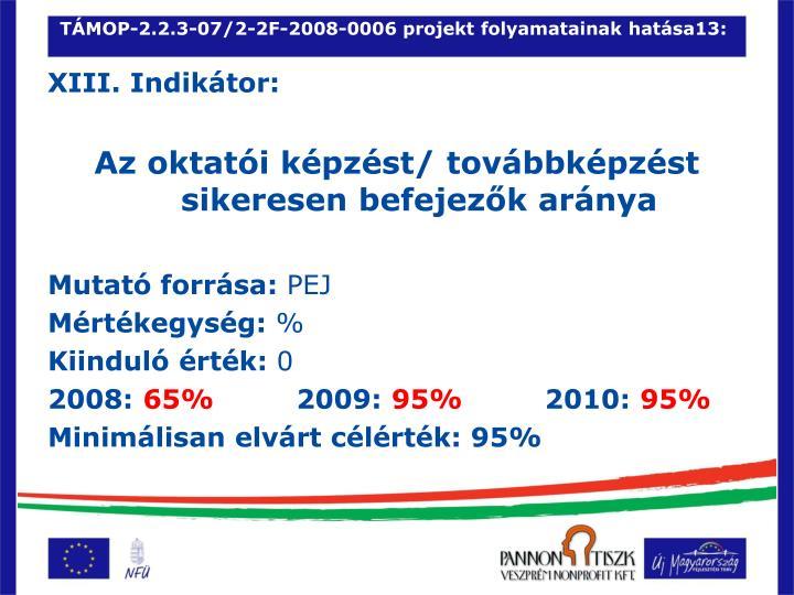 TÁMOP-2.2.3-07/2-2F-2008-0006 projekt folyamatainak hatása13: