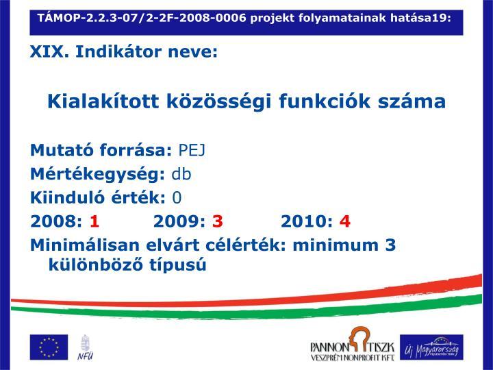 TÁMOP-2.2.3-07/2-2F-2008-0006 projekt folyamatainak hatása19: