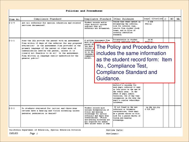 The Policy and Procedure form includes the same information as the student record form:  Item No., Compliance Test, Compliance Standard and Guidance.