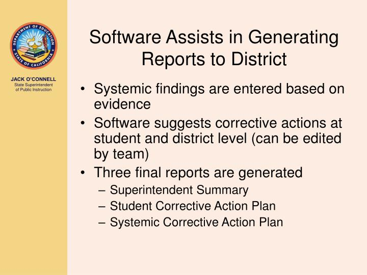 Software Assists in Generating Reports to District