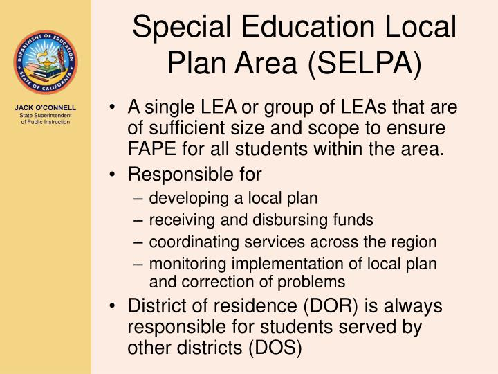 Special Education Local Plan Area (SELPA)