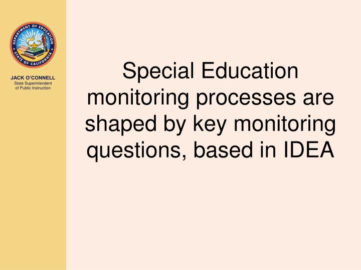 Special Education monitoring processes are shaped by key monitoring questions, based in IDEA
