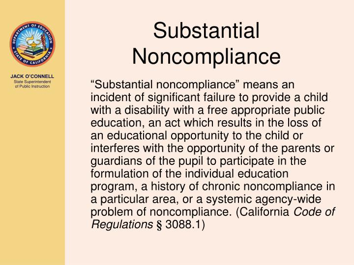 Substantial Noncompliance