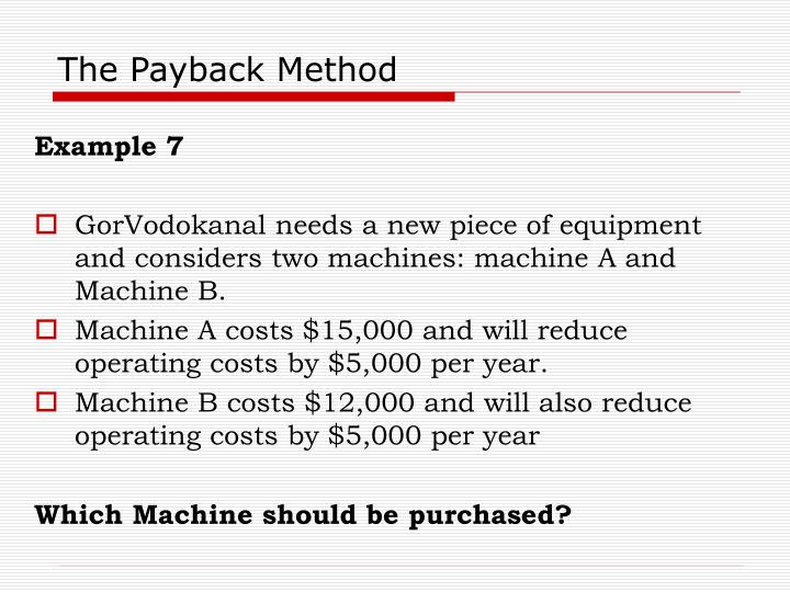 The Payback Method
