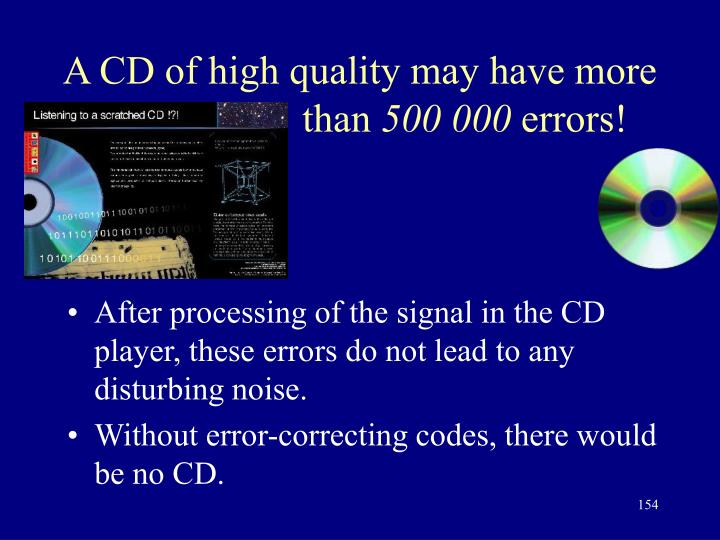 A CD of high quality may have more