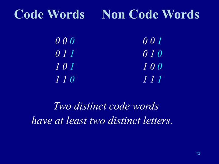 Code WordsNon Code Words