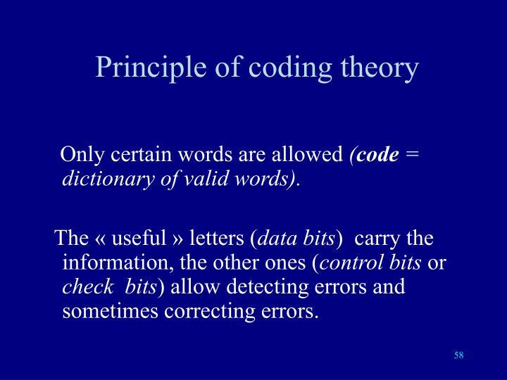 Principle of coding theory