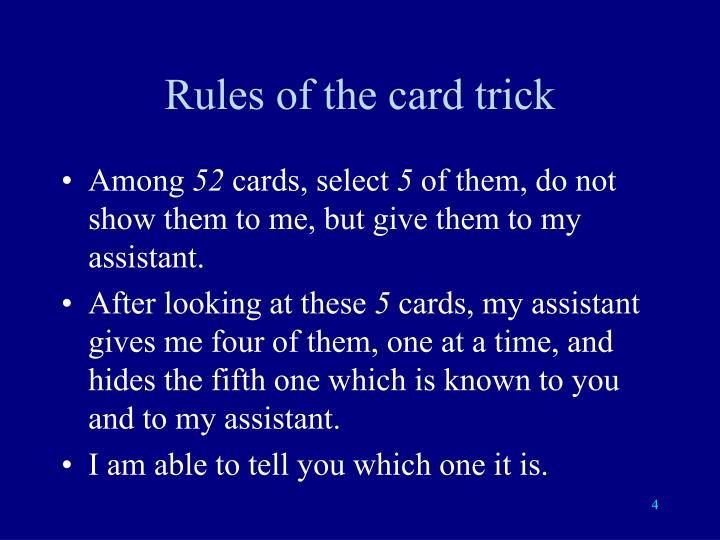 Rules of the card trick