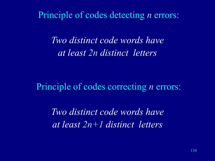 Principle of codes detecting