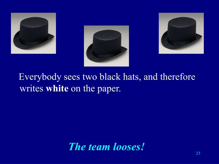 Everybody sees two black hats, and therefore writes