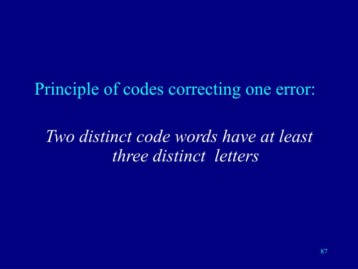 Principle of codes correcting one error: